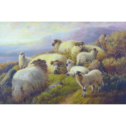 278 - Robert Watson (British, 1865-1916): Eight Sheep on a Hillside, signed and dated '1901' lower right, ...