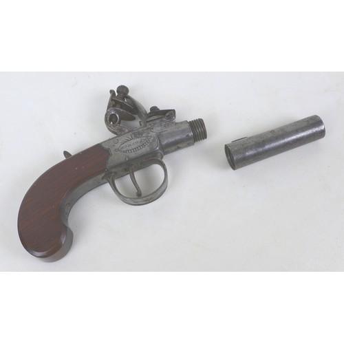172 - An early 19th century flintlock boxlock pocket pistol by Oakes of Horsham, with slab sided walnut gr...