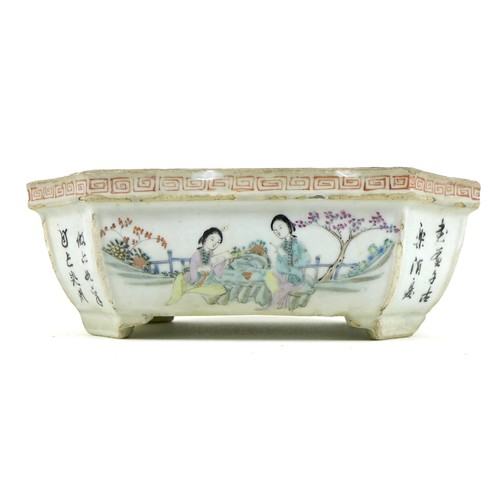 4 - A Chinese Republic period porcelain small planter, of rectangular outline with incuse corners, taper...