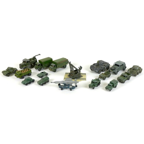 196 - A collection of vintage Dinky, Corgi Lesney and Matchbox military model vehicles, comprising Dinky '...