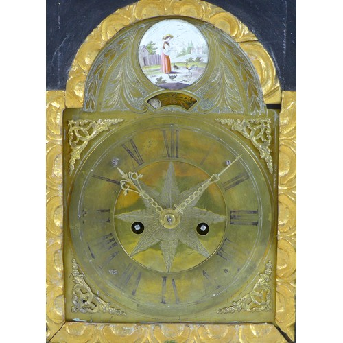 370 - A 19th century Vienna mantel clock, in ebonised and gilt case, the foliate engraved 5