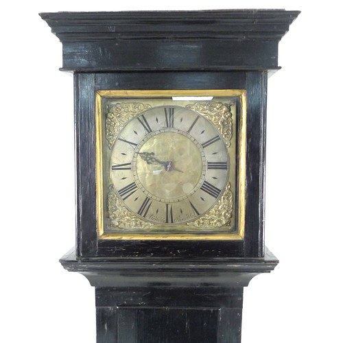 376 - An early 18th century oak cottage longcase clock, the 9