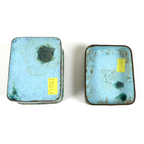 17 - A Chinese enamel box and cover, of rectangular section with rounded corners, decorated with sprays o...