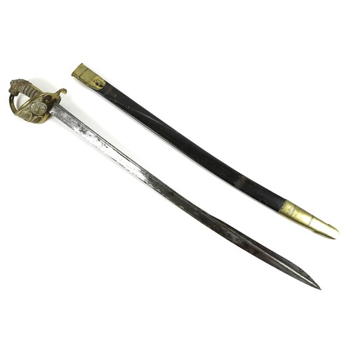 118 - An 1827 Pattern British Naval Officer's naval dress sword, early 19th century, brass hilt with lion'...