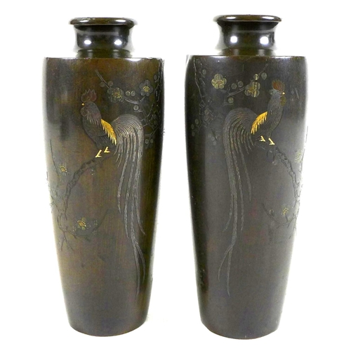 1 - A mirrored pair of Japanese Meiji period bronze vases, of shouldered tapering cylindrical form, inla...