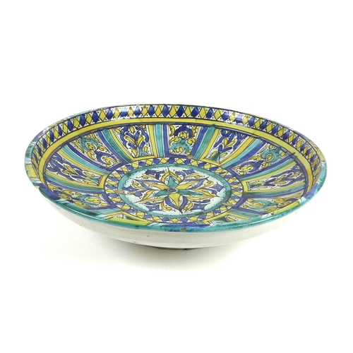 11 - An Italian maiolica charger, early 20th century, decorated with twelve panels around a central round...