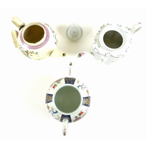 14 - A selection of 18th century and later teapots, including a First Period Worcester teapot, decorated ...