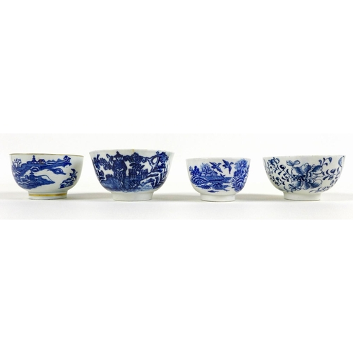 15 - A collection of 18th century and later blue and white tea bowls and saucers, including a Worcester F...
