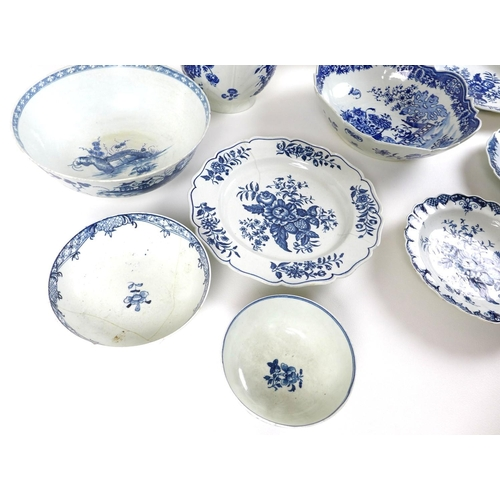 16 - A collection of 18th century and later blue and white ceramic bowls, plates and jugs, mostly Worcest...