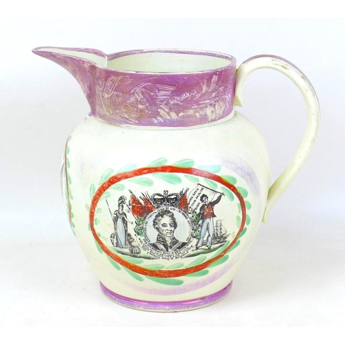 18 - An early 19th century Sunderland pearlware commemorative water jug, of ovoid form jug, with straight...