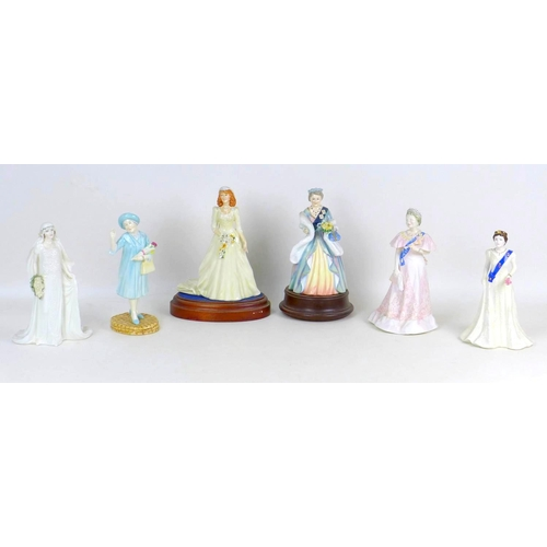 19 - A group of six Royal Doulton, Coalport figurines of British Royalty, including two limited edition R...