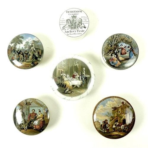 23 - A group of ten Victorian Staffordshire pot lids, six and bases, comprising 'Burgess's Genuine Anchov...