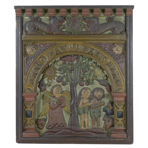237 - Two carved oak ecclesiastical panels, probably 16th / 17th century, carved in high relief with polyc...