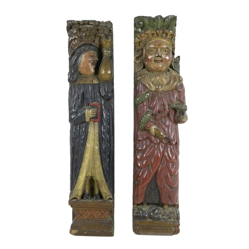 238 - Two carved oak ecclesiastical panels, probably 16th / 17th century, carved in high relief with polyc...