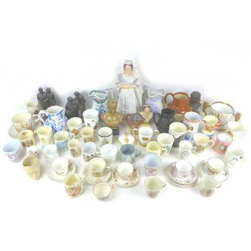 24 - Over one hundred pieces of British Royal Commemorative wares, dating from Queen Victoria onwards, in...
