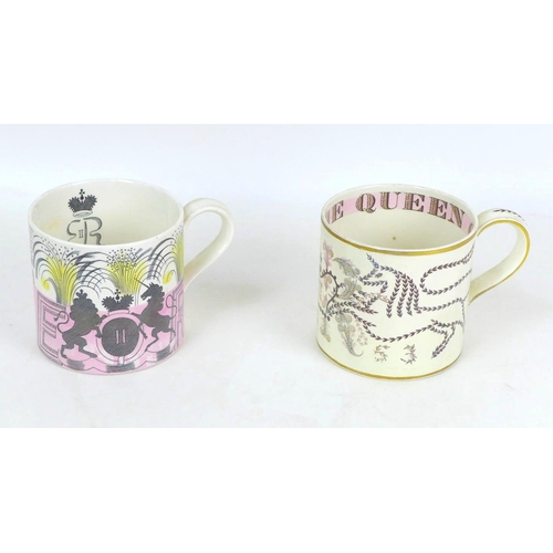 25 - Two Wedgwood 1953 ERII Coronation mugs, one designed by Eric Ravilious with pink and yellow colourin...