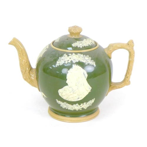 27 - A Copeland late Spode Queen Victoria Diamond Jubilee commemorative teapot, in olive green with appli...