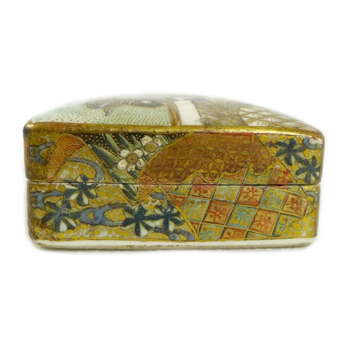 3 - A fine Japanese Satsuma pottery kogo incense box and cover by Kinkozan, Meiji period, of rectangular...