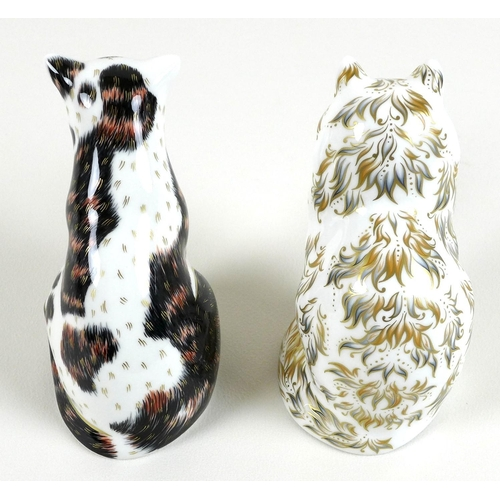 30 - Two Royal Crown Derby paperweights, modelled as 'Fifi' the cat, gold stopper, MMXIII, 13.5cm high, b...
