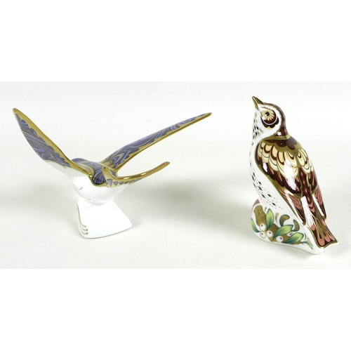 31 - Two Royal Crown Derby paperweights, comprising 'Christmas Mistle Thrush', limited edition 215/250 ex...