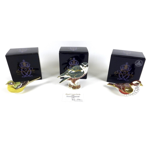 35 - A group of three Royal Crown Derby paperweights, comprising 'Hobby', limited edition 249/500, gold s...