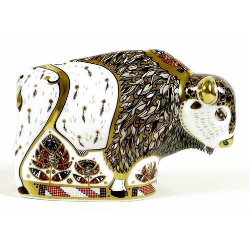 36 - A Royal Crown Derby paperweight, modelled as 'North American Bison', limited edition pre-release 145...