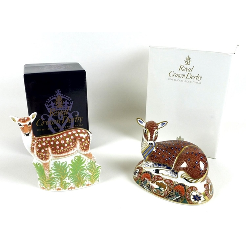 37 - Two Royal Crown Derby paperweights, modelled as 'Deer', Designed Exclusively for The Royal Crown Der...