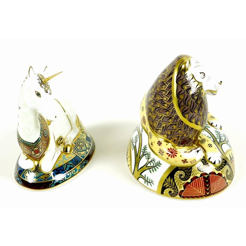38 - Two Royal Crown Derby paperweights, modelled as 'Unicorn', Specially Designed to Celebrate the New M...