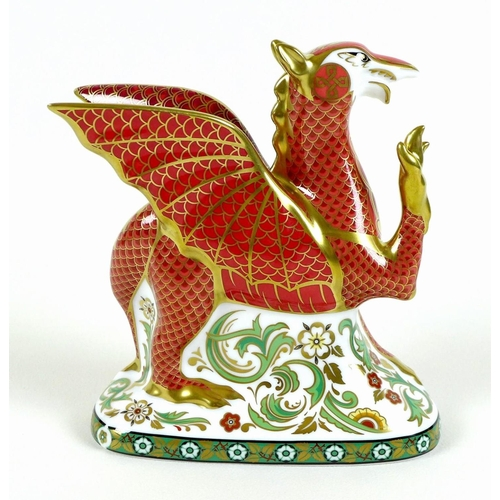 39 - A Royal Crown Derby commemorative paperweight, modelled as 'Welsh Dragon', To celebrate the Marriage...