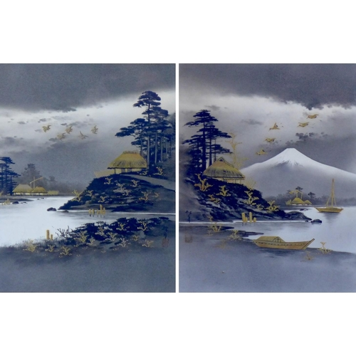 4 - A pair of Japanese watercolours, one of a rural lake landscape, Mount Fuji in the background with cr...