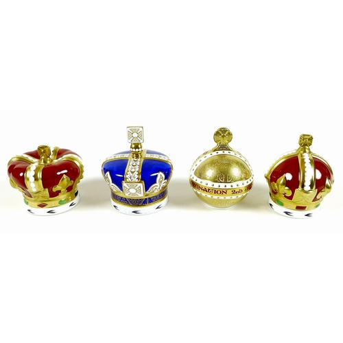 40 - A group of four Royal Crown Derby paperweights, comprising 'The 90th Birthday Crown', limited editio...