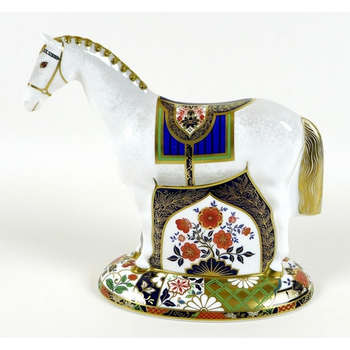 41 - A Royal Crown Derby paperweight, modelled as 'Race Horse', limited edition 399/1500 specially commis...