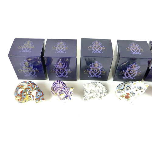 44 - A group of eight small Royal Crown Derby paperweights, all modelled as kittens, comprising 'Sleeping...