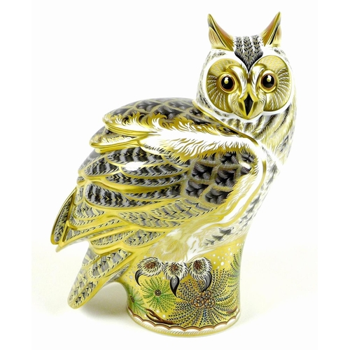 48 - A Royal Crown Derby Prestige paperweight, modelled as 'Long Eared Owl', limited edition 285/300, las...