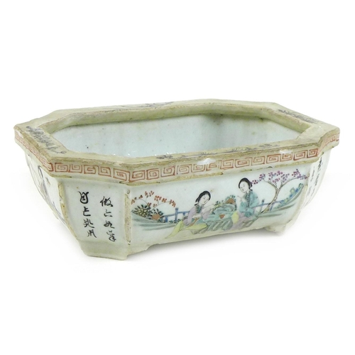 6 - A Chinese Republic period porcelain small planter, of rectangular outline with incuse corners, taper...