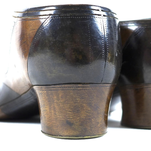 83 - A pair of 19th century novelty treen table snuff boxes, modelled in the form of lady's shoes, finely...