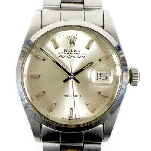 155 - A Rolex Oyster Perpetual Air-King-Date Precision stainless steel cased gentleman's mid sized wristwa...