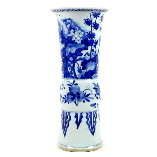 1 - A Chinese porcelain 'Gu' shaped vase, early Kangxi / Transitional period, circa 1670, decorated in u...