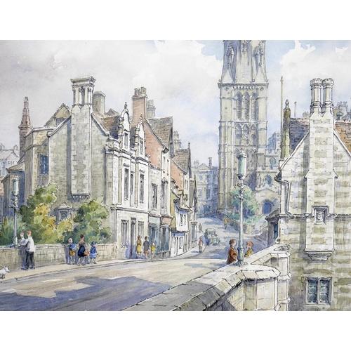 137 - Wilfrid Rene Wood (British, 1888-1976): a view of Stamford, depicting the 'Town Bridge' (No 1), wate...