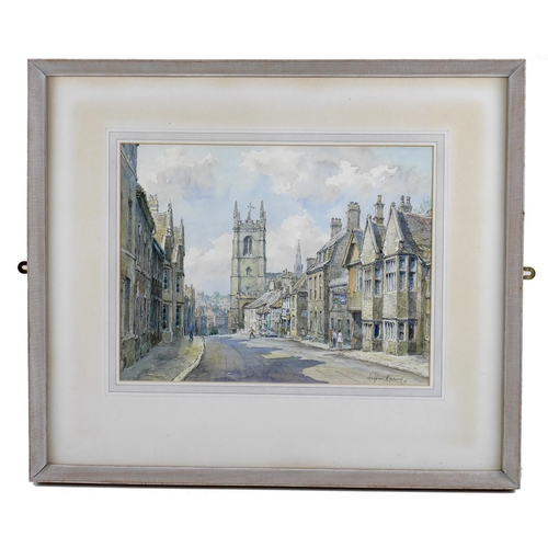 140 - Wilfrid Rene Wood (British, 1888-1976): a view of Stamford, depicting 'High Street St Martin's' (No ...