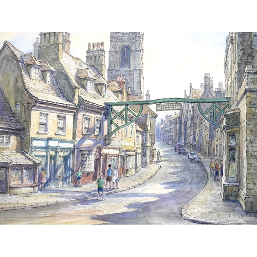 141 - Wilfrid Rene Wood (British, 1888-1976): a view of Stamford, depicting 'High Street St Martin's from ...