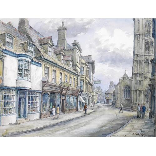 142 - Wilfrid Rene Wood (British, 1888-1976): a view of Stamford, depicting 'St Mary's Street' (No 6), wat...