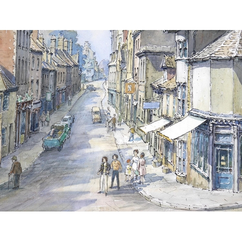 143 - Wilfrid Rene Wood (British, 1888-1976): a view of Stamford, depicting 'All Saints Place' (No 48), wa...