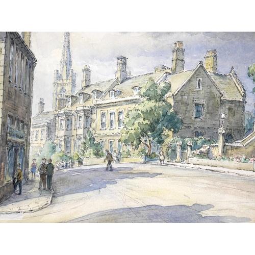 144 - Wilfrid Rene Wood (British, 1888-1976): a view of Stamford, depicting 'Brown's Hospital, Broad Stree...