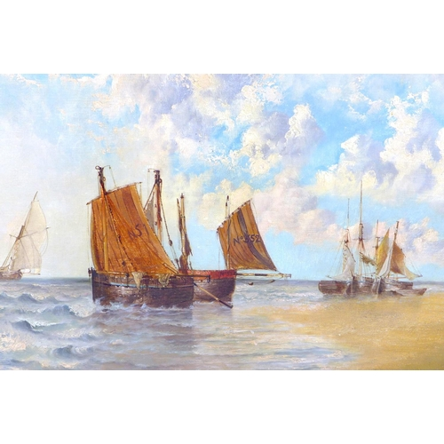 158 - Edwin Henry Eugene Fletcher (British, 1857-1945): sailing boats by a beach, signed lower right, oil ...