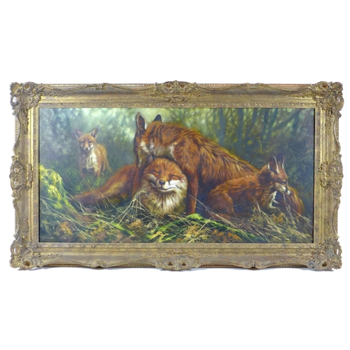 159 - Mick Cawston (British, 1959-2006): depicting four foxes in a wood, signed and dated 1988 lower right...
