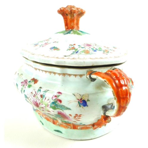 2 - A Chinese porcelain tureen and cover, Qing Dynasty, early 19th century, decorated in famille rose pa...