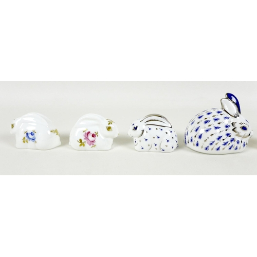 26 - A group of seven Royal Crown Derby paperweights, all modelled as rabbits, comprising 'Baby Rowsley R...