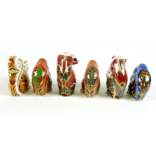 29 - A group of six Royal Crown Derby paperweights, all modelled as squirrels, comprising 'Welbeck Squirr...