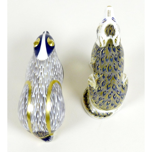 30 - Two Royal Crown Derby paperweights, comprising 'Woodland Badger', gold stopper, MMVII, 15.5cm long, ...